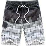 KASEBAY Mens Beach Shorts Swimming Trunks Quick Dry Swim Suits for Board Bathing Casual Surfing Pants with Pocket