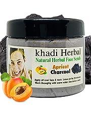 Khadi Herbal Natural Apricot & Charcoal Face Scrub 180g    (Pack Of 1)