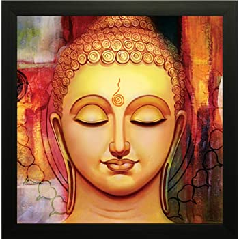 SAF UV Textured 'Buddha ' Print Framed Painting Set of 1 for Home Decoration – Size 35 x 2 x 35 cm