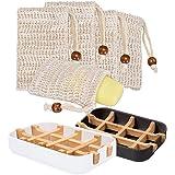 Macllar 2 pièces Porte Savon Bambou (Blanc + Noir), 5 Pièces Naturel Sac a Savon, Boite a Savon Plastique, Porte Savon Voyage