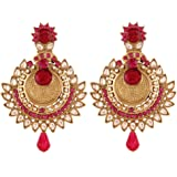 I Jewels Traditional Gold Plated Elegantly Handcrafted Kundan & Stone Earrings for Women E2276Q (White)