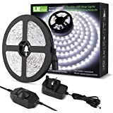 LE 5M LED Strips Lights Kit, Dimmable, 1200lm, Daylight White 6000K, Plug and Play LED Tape Light for Home Kitchen Bedroom an
