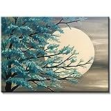 تابلوه مودرن قماش - الشجرة والقمر ، 100 سم x 70 سم