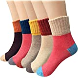 5 Pairs Womens Vintage Style Winter Thick Knitting Warm Wool Crew Cotton Socks