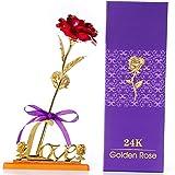 Gobesty Galaxy Rose Bleu 24k Or Rose avec Amour Base Stand Faux Fleurs Roses Artificielles Pr/ésente pour Femmes Valentines Anniversaire Cadeau De No/ël