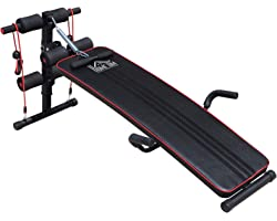 HOMCOM Sit Up Bench Core AB Workout Fitness Excercise Machine Adjustable Thigh Support Home Gym Black