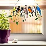 Multicolor vogels op een draad hoge gebrandschilderd glas Suncatcher Window Panel, gebrandschilderd vogel venster opknoping o