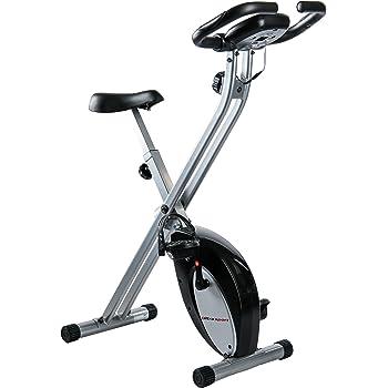 Ultrasport F-Bike - bicicleta estática, aparato doméstico, bicicleta fitness plegable con consola y sensores de pulso en manillar, plata/negro