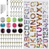 PUDSIRN Hars Alfabet Mould, 78 Stks Epoxy Siliconen Letter & Nummer Mould Kit DIY Casting Resin Mold voor het maken van Sleut