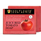 Soulflower Handmade Juicy Red Tomato Soap for tanned skin ,blackheads, blemishes and skin brightening - Pure, Natural, Coldpr