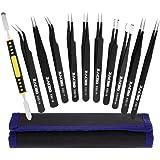 Zacro 11 Pcs Pinzas de Precisión, Tweezers ESD Anti-Estáticas de Acero Inoxidable Pinzas para Electrónicas, Joyería, Laborato