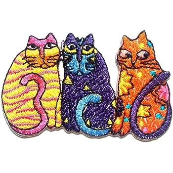 5,5x6,5cm Patches Aufbügeln Aufnäher // Bügelbild braun Katze Kopf Tier
