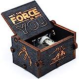 Boîte à musique en bois noire de Star Wars, décorations antiques sculptées à la main en bois de boîtes à musique en bois arti