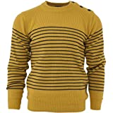 Relco Men's Classic Mustard Yellow Retro Naval Striped Heavy Knit Jumper