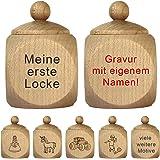 Hofmeister Holzdose mit Schraubverschluss Einbrand Erste Locke Ahorn 4x4x6cm