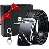 flintronic® Cintura Uomo, Cintura da Uomo in Pelle con Fibbia Automatica, Moda Cintura a Cricchetto 3.5cm * 130cm, con Portac