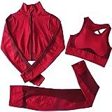 Jamron Mujer Conjunto de Ropa de Yoga Top Corto + Polainas 2 Piezas/3 Piezas Chandal Gimnasio Fitness Ropa Deportiva