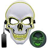 Máscara LED de Halloween, Máscara de purga 3 modos de iluminación, Máscara de miedo de Halloween Máscara de miedo para adulto
