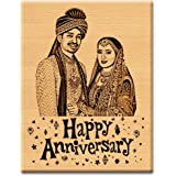 Incredible Gifts India First or 2nd Marriage Anniversary Gift Personalized Engraved Photo Plaque (5x4 inch, Wood, Beige)