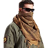 FREE SOLDIER 100% Cotton Shemagh Military Tactical Keffiyeh Desert Head Neck Scarf 43x45 inches Arab Wrap with Tassel for Men