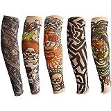 ANGTUO Manicotti del Braccio del Tatuaggio per i Bambini, 5 PCS Manicotto del Braccio di Protezione UV all'aperto Moda del Ta