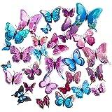 CCUCKY Stickers Muraux De Papillons,36 Pièces Double Couches 3D Ailes Papillons Décoration Idéal Pour Enfants Chambre Cuisine