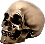Bronze Color Human Skull Head Figurine Skeleton Halloween Gothic Decoration New