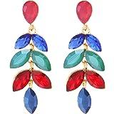 TEMPUS FUGIT. Pendientes para mujer largos Antialérgicos Floral, Fiesta, Moda, Chapados en Oro con cristales de colores brill