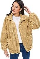 ZAFUL Women's Fuzzy Jacket Coat Fluffy Zip-up Turndown Collar Pockets Soft Outwear