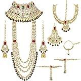 Peora Ethnic Indian Traditional Gold Plated Kundan Dulhan Bridal Jewellery Set with Choker Earrings Maang Tikka Hathphool for