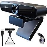 Webcam 1080p Full HD Webcam met Microfoon en Privacy Cover en Haakje,Webcam PC Camera Plug-And-Play,Webcam voor livestreaming