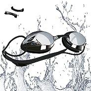 VETOKY Occhialini da Nuoto, Anti-Appannamento Specchio Occhiali da Nuoto Agonistico Protezione UV Impermeabile Anti-Perdita C