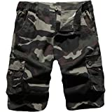 iCKER Mens Multi-Pocket Cotton Shorts Camo Cargo Shorts Loose Fit Camouflage Short