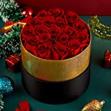 Eterfield Handmade Preserved Roses in a Box Real Roses Rosebox That Last a Year Gift for Her (Round Black Box, Red Rose)