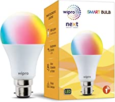 Wipro WiFi Enabled Smart LED Bulb B22 12-Watt (16 Million Colors + Warm White/Neutral White/White) (Compatible with...
