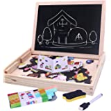 Toyshine Wooden Magnetic Board Easel, Jigsaw Puzzle, Drawing Board, Wooden Toy, Multi Color