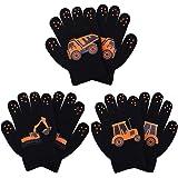 Cooraby - 3 paia di guanti invernali per bambini, caldi, elasticizzati, lavorati a maglia