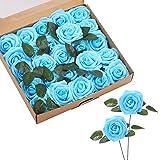 ASYOUWISH Flores Artificiales, 25 Piezas, Rosas de Imitación de Espuma de Poliestireno con Tallos, Adecuadas para Decoración