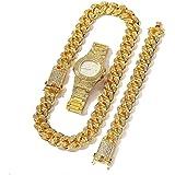 Orologio da uomo placcato in oro placcato in oro 18k con teca pavimentata con collana a catena cubana Miami da 20 mm e set di