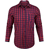 Aibrou Camisas Hombre Manga Larga Camisa Cuadros Hombre Camisa de Hombre de Algodón Casual Talla Grande Regular Fit