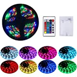 Battery Powered Led Strip Lights with Remote, Self-Adhesive, Cuttable, Waterproof, 6.56FT 60Led RGB Strip Lights for TV Kitch