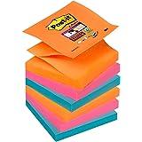Post-it Super Sticky Lot de 6 Blocs 76 x 76 mm Orange/Rose/Bleu