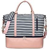 EverVanz Weekender Übernachtungs-Tasche mit Schuhfach-Reisetasche in Trolley-Ärmel-Wochenend-Tragetasche für Damen Damen