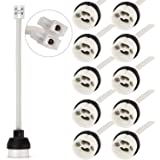 DiCUNO GU10 Support de lampe, 0.75mm² 15CM/150MM fil, GU10 Connecteur base en créramique pour ampoule GU10, 0-250V, 2A, 10 Pa