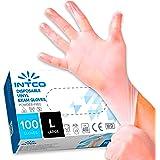 100 guanti in vinile L senza polvere, senza lattice, ipoallergenici, certificati CE trasparenti conforme alla norma EN455 e E
