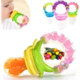 BabyGo Organic Baby's BPA-Free Silicone Nipple Food Nibbler for Fruits with Rattle Handle and Storage Box (Multicolour, 6-12