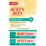 Burt's Bees 100% Natural Medicated Moisturizing Lip Balm with Menthol & Eucalyptus, 2 Tubes in Blister Box