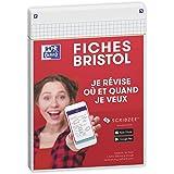 Oxford Révision 2.0 Lot de 50 Fiches bristol format A5 (14, 8 x 21cm) petits carreaux Recto/Verso - cadre Blanc