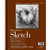 """Strathmore 455-3, 400 Series Sketch Pad, 9""""x12"""" Wire Bound, 100 Sheets, White"""