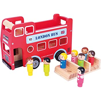 LELIN Wood Wooden Double Decker Red London Bus with Figurines